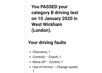 Emailed driving test results