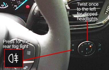 Ford Fiesta rear fog light controls